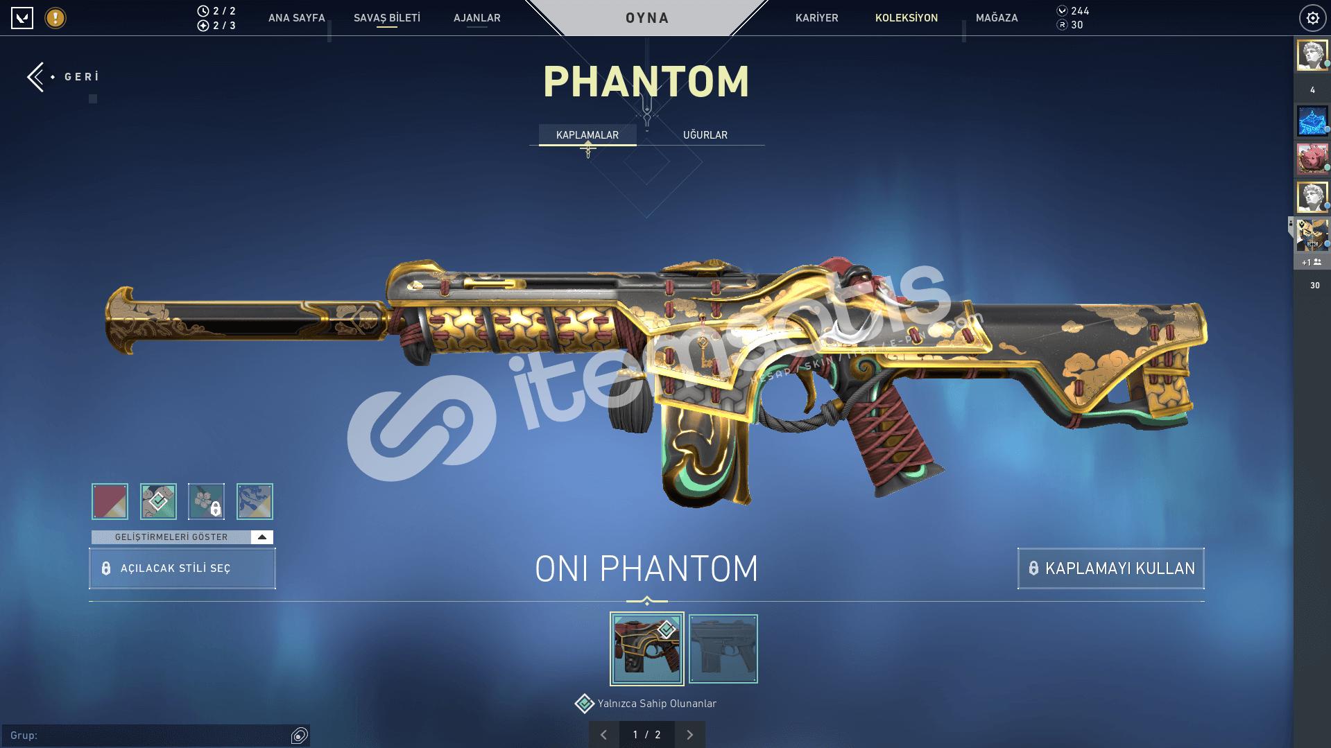 2 Bıçaklı ve 1 Phantom skinli hesap satılır.
