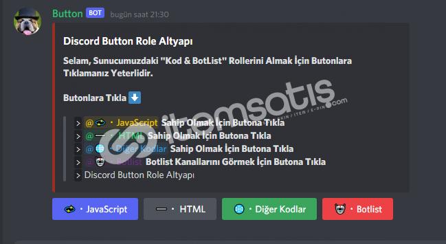 V13 Discord Button Role Altyapı VDS İçindir!