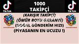 TİKTOK 1000 KARIŞIK TAKİPÇİ   ÖMÜR BOYU GARANTİLİ ♻️   28 TL