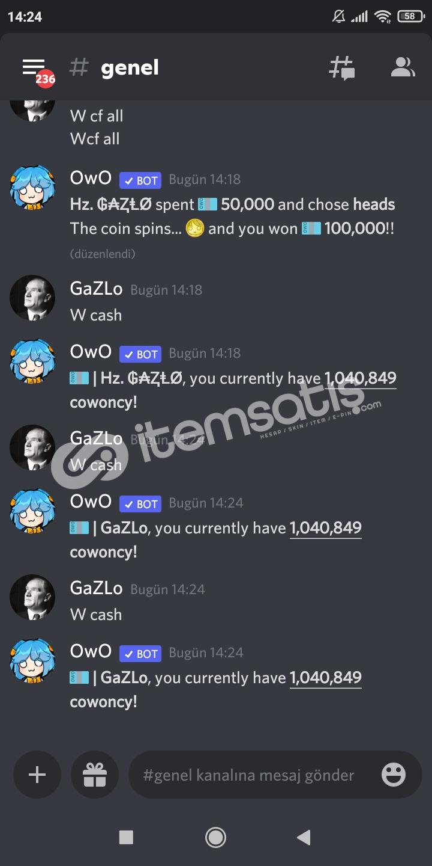 1 Milyon OwO Cash para satış