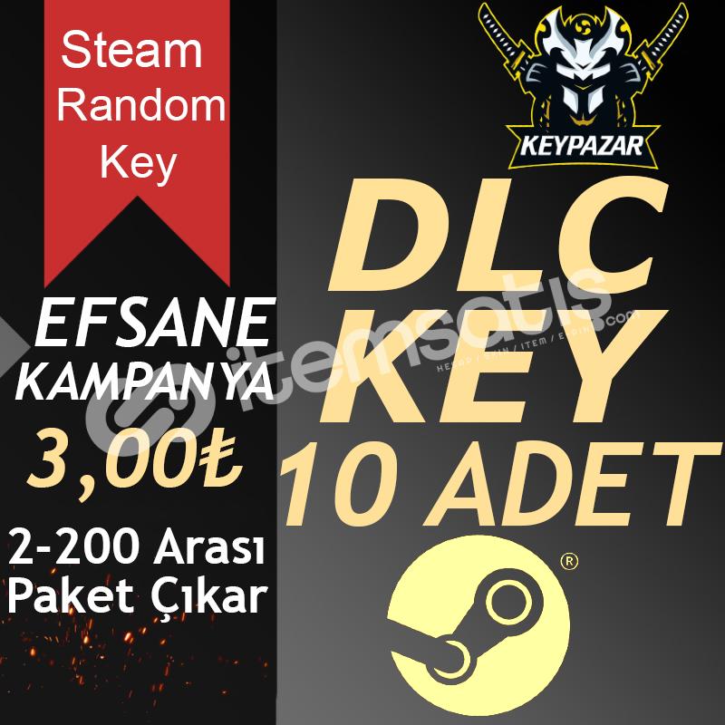 Steam Random Key DLC 10 ADET (2-200 TL Paket)