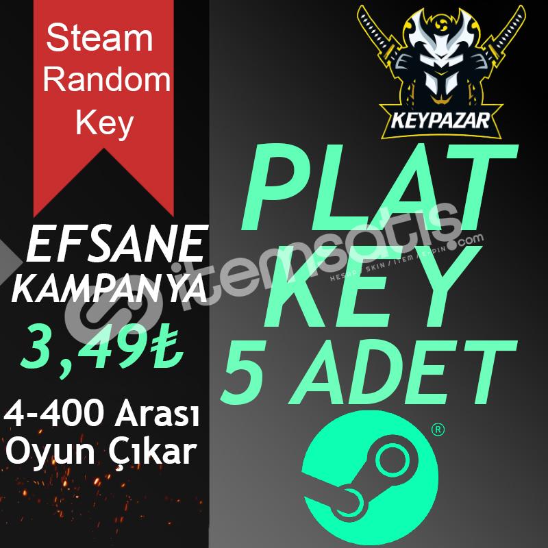 Steam Random Key PLAT 5 ADET (4-400 TL Oyun Çık