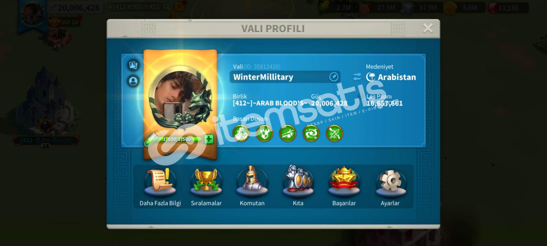 Rise of kingdoms Vip10/20m satılık hesap