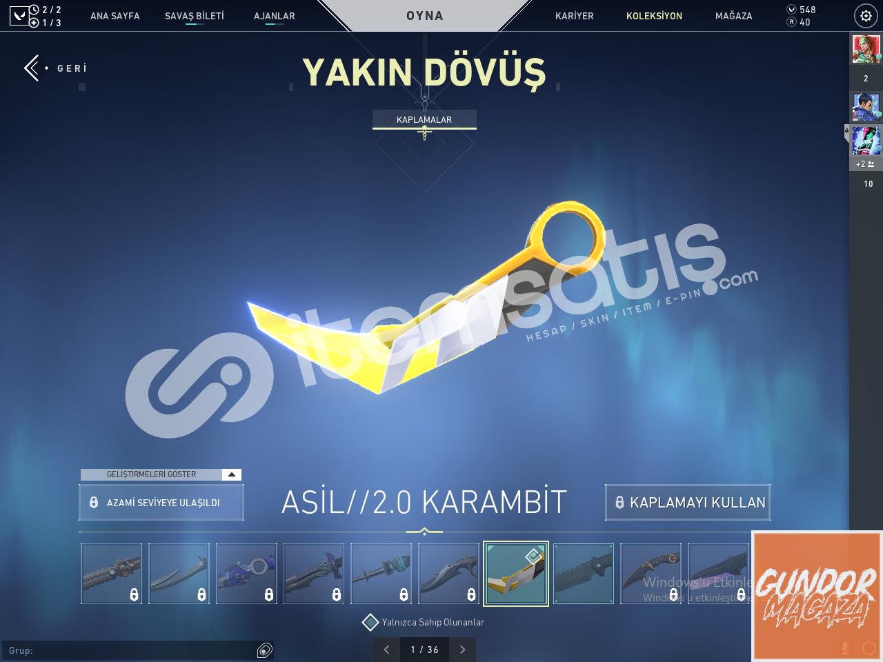[TR] Valorant Asil 2.0 Karambit Hesap | Gümüş 2