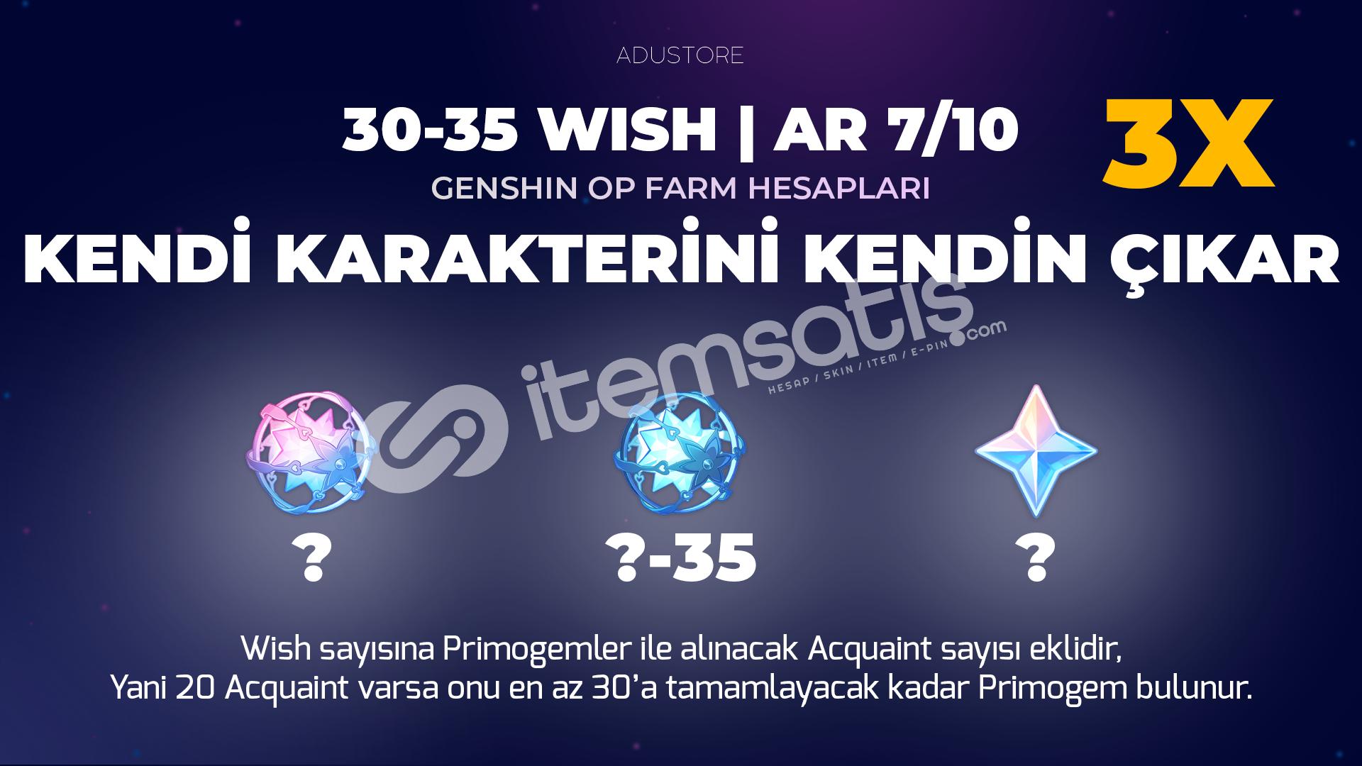 3X 30-35 Wish   Farmer Başlangıç Hesapları