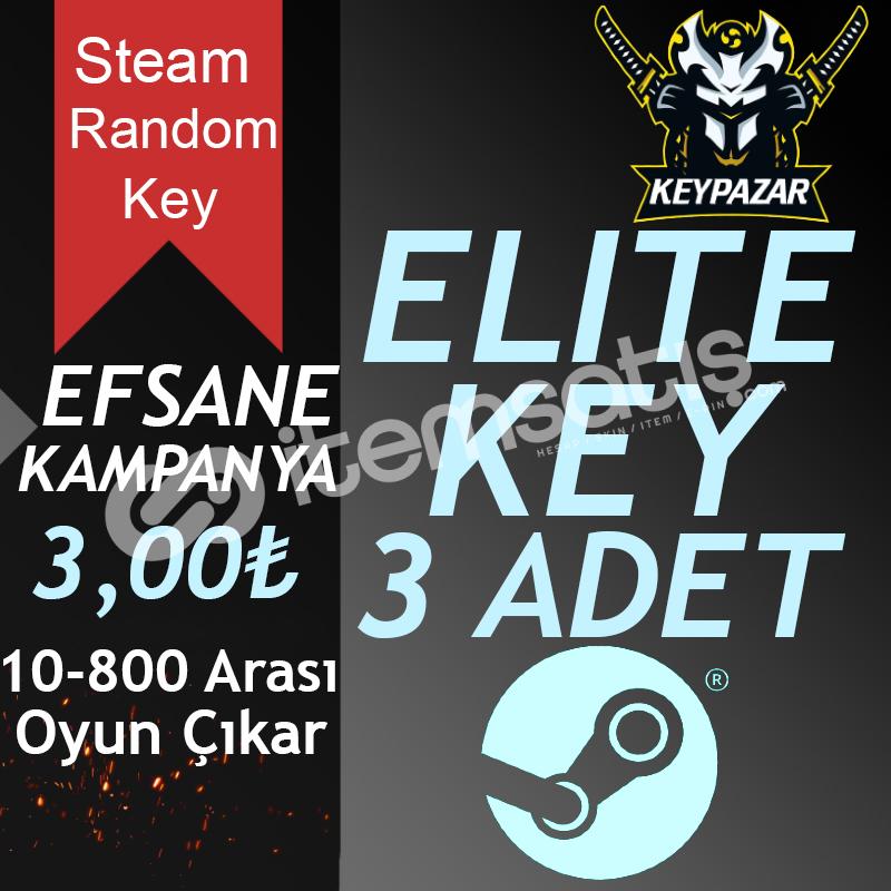 Steam Random Key ELİTE 3 ADET 10-800 TL Oyun