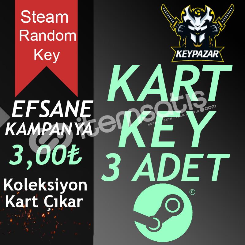 Steam Random Key 3 ADET KOLEKSİYON KARTLI