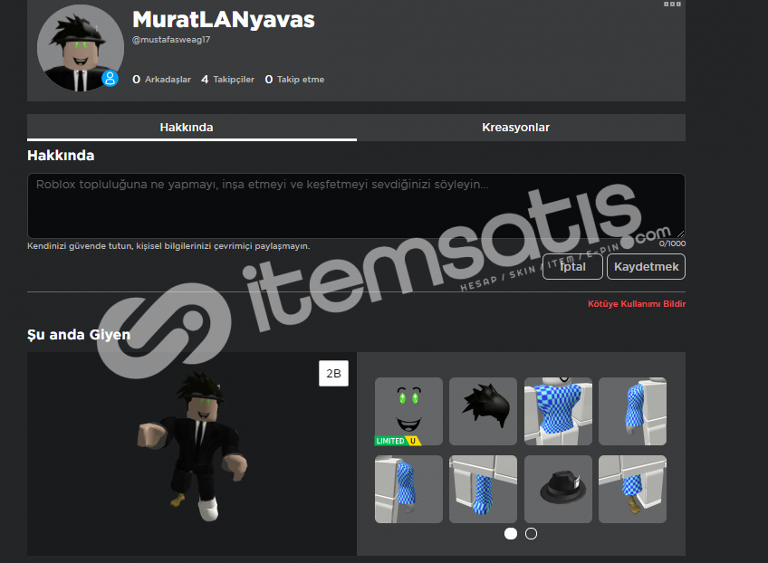 ROBLOX HESABI 5 K TOTAL 1 ADET LİMİTED
