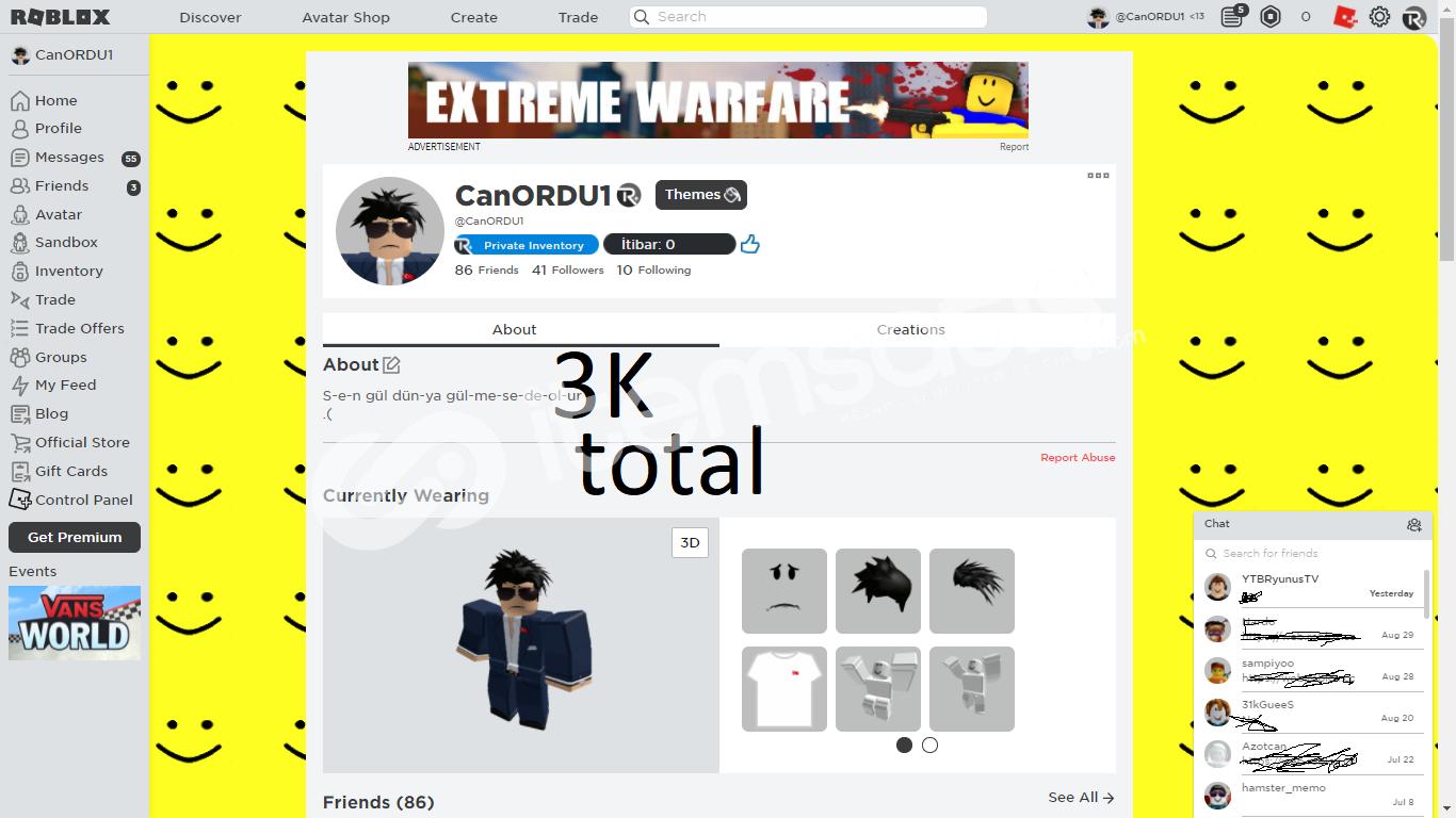 3bin robux totel roblox hesap nick CanORDU1