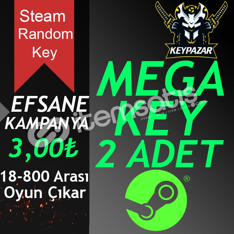 Steam Random Key MEGA 2 ADET 18-800 OYUN