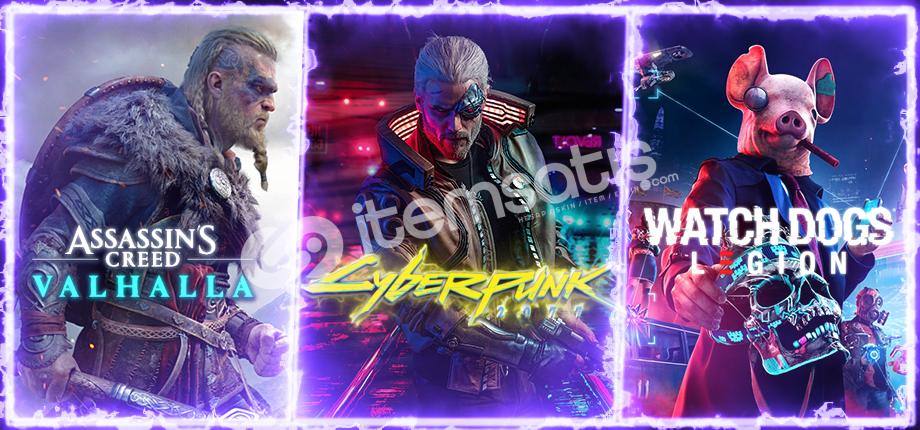AC Valhalla + Cyberpunk 2077 + Watch Dogs Legion